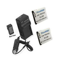 TWO 2X DB-L80A DB-L80AU DB-L80U Batteries + Charger for Sanyo DMX-CG10 DMX-X1200