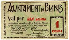 ☆ SPAIN CIVIL WAR 1937 • BLANES 1 PESETA MUNICIPAL ☆ GUERRA CIVIL ESPAÑOLA☆C5141