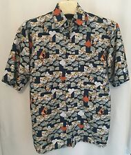 UTOPIA Men's Bowling Camp M Shirt Blue Black Jack Pinup Pattern