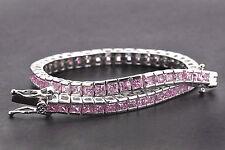 "925 Sterling Silver Princess Cut Art Deco Pink Sapphire Tennis Bracelet 7"" inch"