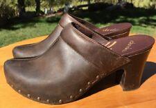"Dansko Women's ""Rae"" Distressed Studded Brown Leather Slip On Heeled Mules Sz 39"