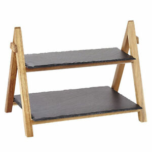 2 Tier Rack Slate Boards Bamboo Tapas Sushi Food Serving Tray Platter Cake Stand
