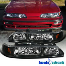 For 90-93 Acura Integra 1 Piece Style Headlights Black Replacement Left+Right (Fits: Acura Integra)