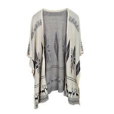 Premium Snowflakes & Reindeer Print Kimono Cardigan Blouse Poncho Sweater Top