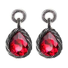 Pierced Sparkly Red Crystal Tear Drop Shaped Antique Silver Dangle Earrings