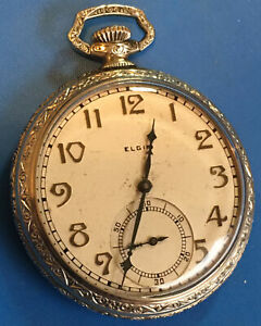Antique 1928  Elgin Illinois 10k Gold Filled Pocket Watch siz 12s  15J  run