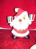 Vintage Holt Howard Santa Claus Candle Holder Flocked Red Suit Hat