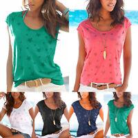 Womens Short Sleeve T-Shirt Summer Loose Tee Casual Blouse Print Top Beach Shirt
