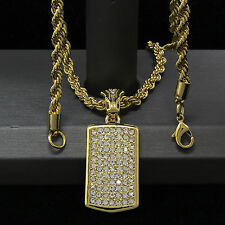 """Mens Gold Plated Hip-Hop Fully Iced Dog Tag Pendant 24"""" Rope Chain Necklace D761"""