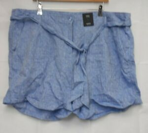 M&S Collection Blue Mix Linen Shorts size 22 NEW E14
