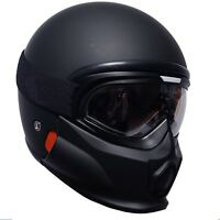 VIPER RS07 Trooper Motorcycle Open Face Helmet Fiberglass Matt Black