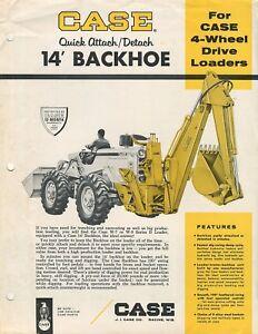 Case 14' Backhoe Quick Attach/Detach for Case 4 Wheel Drive loaders brochure