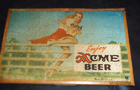 1938 ACME BEER SKIRT ON FENCE TOC  SIGN ORIGINAL  LOS ANGELES CAL PETTY GIRL