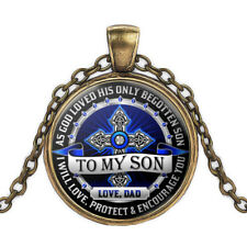 Father And Son Necklace To My Son Never Forget That I Love You Cross bronze #661