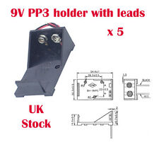 5 x PP3 9V Battery Box / Holder with flying Leads