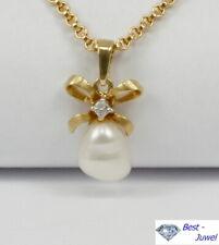 Kleiner Anhänger mit echter Süsswasserperle u. Diamant; 585 Gelbgold