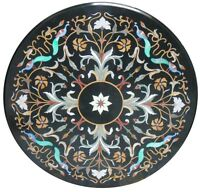 """24"""" Black Marble Coffee Table Top Floral Marquetry Inlay Outdoor Decorate H1601"""