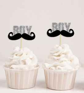 Baby Shower Its a Boy Moustache Cupcake Toppers,Gender Reveal Party-DSCCT-91A