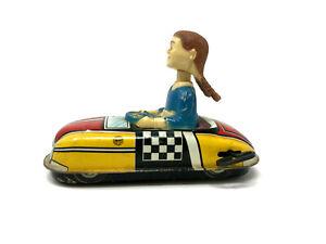 Marx Dipsy Doodle Bobble Head Dora Bumper Car, Wind up Toy, U.S.A.,1940's