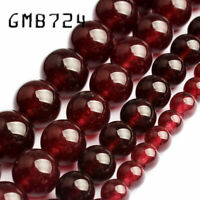 Natural Garnet Red Chalcedony Stone Round Loose Beads for Jewelry Making diy