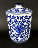 Cobalt Blue White Scrollwork Porcelain Canister Medium Ginger Jar w/ Lid Willow
