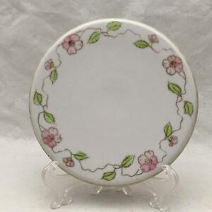 Antique Porcelain Tea Tile Trivet Hand Painted Nippon Pink Floral Vines w Leaves