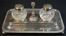 Antique Walker and Hall Silver Plate Stand and Cut Crystal Inkwells