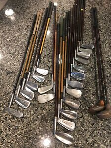 Mixed Lot Antique Golf Clubs.  H&B, Wilson, Spaulding, Hagen, Etc. Hickory. PGA