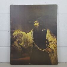 Vintage Aristotle with Bust of Homer Rembrandt Reproduction on Canvas Unframed