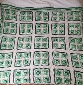 "Vintage Crochet 3-D Green Rose Flowers Afghan Blanket Handmade 72"" × 76"""