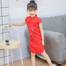Chinois Enfants Filles Chine Cerise Rouge Floraison Qipao Qipao Robe gcd12