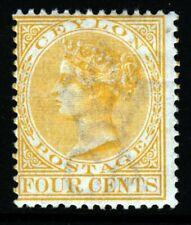 CEYLON Queen Victoria 1899 Four Cents Yellow Wmk Crown CA SG 258 MINT