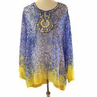 Soft Surroundings Grasse Tunic Top Size 2XL Blue Yellow Beaded Trim Semi Sheer