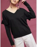 Anthropologie Folk By Hanseifrom Basel Black Ruffle Sleeve Detail Sweater Size L