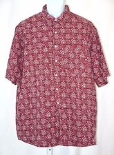 Impact Burgundy Floral Pattern 100% Cotton Camp Casual Button Up Shirt 2XL 52""