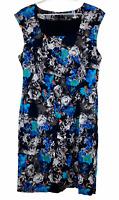 Jacqui E Womens Black Floral Short Sleeve Lined Dress Size 16