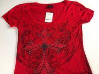 Daytrip Shirt Womens SZ S/M Red Cross Bling Stones Buckle Semi Sheer NEW Rayon