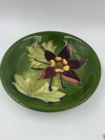 Signed Walter Moorcroft Plate, Old Columbine Collection In Green Stamped On Base