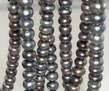 10X8MM DARK GREY NATURAL PEARL GEMSTONE GRADE A RONDELLE LOOSE BEADS 7""