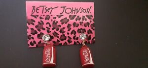 BETSEY JOHNSON RED ENAMEL COKE CAN DANGLE STUD EAR RINGS-NEW WITH TAGS