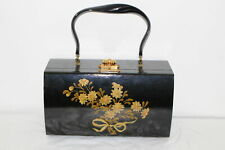Vintage 1960'S Hand Painted Wood Box Purse/Hand Bag-Black Lacquer/Gold
