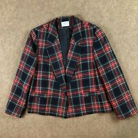 Pendleton Red Navy Green Tartan Plaid Wool Blazer Jacket Women's