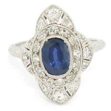 Antique Art Deco Petite Platinum 1.37ctw Diamond & NATURAL Sapphire Dinner Ring