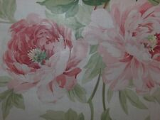 """SANDERSON """"ADELE"""" 1.9 metres floral curtain fabric remnant ROSE/CREAM"""