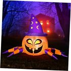 Halloween Inflatable Outdoor 6FT Long Pumpkin Spider with Witch Hat,
