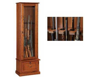 8 Gun Cabinet Safe Rifle Wood Locker Storage Shotgun Firearm Lock Shelf