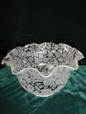 """Vintage Victorian Etched Glass Lamp Shade Chintz Floral Ruffled 3.75 """" Fitter"""