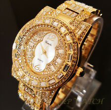Luxury 14k Gold Finish Pearl Iced Out Bling Crystal Lab Diamond Bracelet Watch