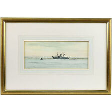 Original Signed Framed French Naval Warship Watercolour Painting D. Addey