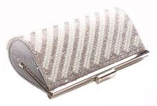 Stardust Unblemished Pearl Stripe & Diamante 23x10cm Chrome Clutch Bag(Cl36)